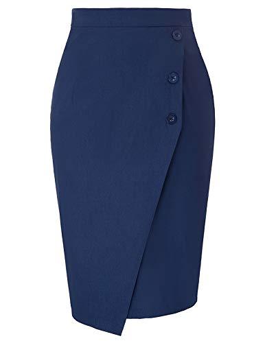 (GRACE KARIN Womens Elastic Waist Skirts Stretch Button Bodycon Pencil Skirt Navy M)