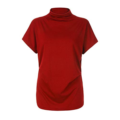 Willow S Women Casual Plus Size Solid High Collar Turtleneck Tees Bat Short Sleeve Cotton Blouse Top T Shirt Watermelon Red