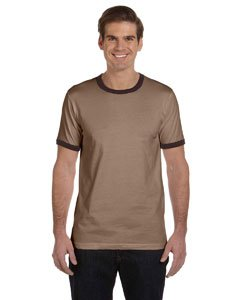 Mens Ringer Brown (Canvas Men's Robertson Heather Ringer Short Sleeve T-Shirt - HEATHER BROWN/BROWN - Large)
