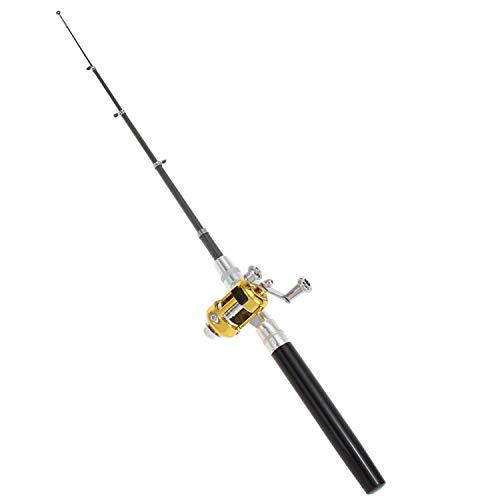 Portable Pocket Telescopic Mini Fishing Pole Aluminum Alloy Pen Shape Fishing Rod with Reel Wheel Ultralight Spinning Fish,Black