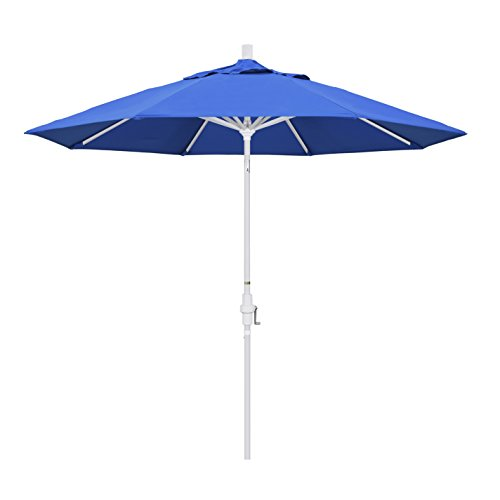 California Umbrella 9′ Round Aluminum Market Umbrella, Crank Lift, Collar Tilt, White Pole, Royal Blue Olefin