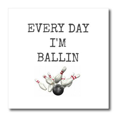 Pin Bowling Photo (3dRose ht_172357_1 Every Day Im Ballin, Bowling Ball and Pins Picture, Black Lettering - Iron on Heat Transfer, 8 by 8