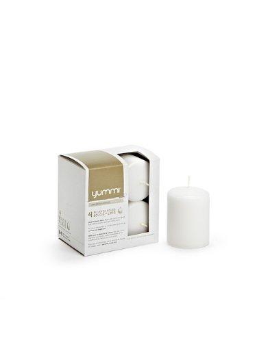 "Premium 3"" Wax Set of 4 Slim Pillar Unscented Candles White"