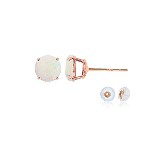 (Genuine 14K Solid Rose Gold 4mm Round Natural Opal October Birthstone Stud)
