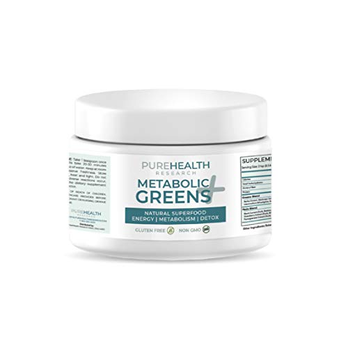 Greens+ Superfood Powder by PureHealth Research – Promote Energy, Detox & Digest – 40+ Whole Foods (Spirulina, Barley…