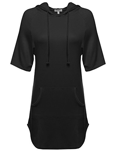 Basic Super Soft Relaxed Short Sleeve Hooded Top Black M Size (Hood Dress)