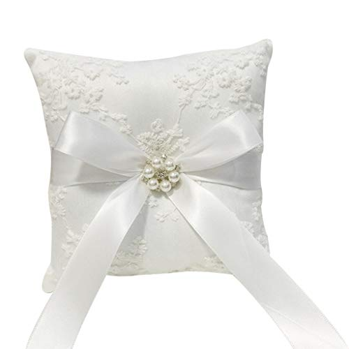 (Euone Wedding Ceremony Ring Bearer Pillow Cushion with Pearl Beaded Lace Silk)