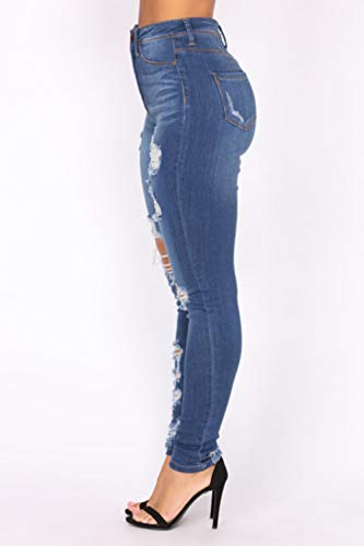 Poche Jeans yulinge Les Blue Femmes Grande Destoryed Jean Dchir Taille XAZYqwA