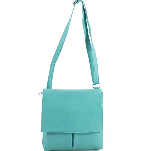 Gold Leather Cross Italian Pockets Soft Turquoise Genuine Womens wit Medium 2 Vera Pelle Bag Body RxpwpzZOqt
