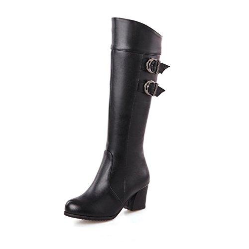 H HQuattro stagioni donne (marrone. Nero. Rosso. Bianco) cintura doppia fibbia scarpe di gomma tacco alto femmina stivali , BLACK , 41