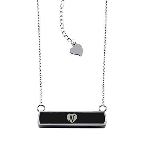 Black Stainless Steel Laser Engraved Heart Alphabet Letter N Horizontal Bar Charm Necklace Pendant Heart Black Letters Charm