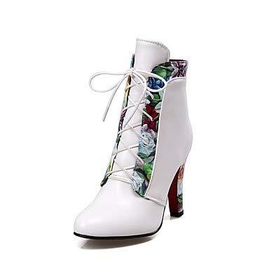 NVXUEZIX Mujer Zapatos PU Otoño Invierno Confort Botas Dedo Puntiagudo Aplique con Cordón para Blanco Negro Rojo, us7.5 / eu38 / uk5.5 / cn38 XIUXIU