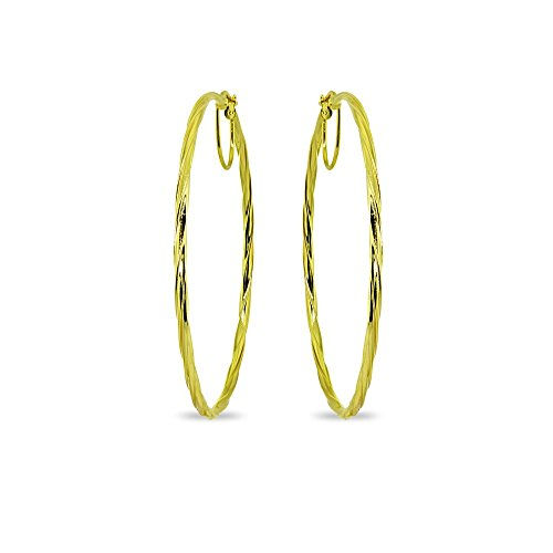 - Gold Flash Sterling Silver 2x50mm Twist Round Large Hoop Earrings for Women Girls, 2 Inches
