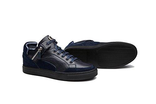 Opp Heren Mode-ontwerper Schoenen Casual Lederen High-top Lace-up Sneakers Met Decoeative Rits Design Blue1