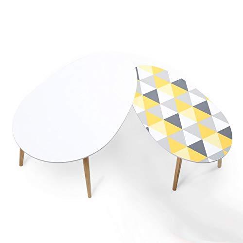 Idmarket Lot De 2 Tables Basses Gigognes Laquées à Motifs Blanc