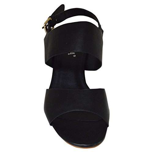 Blockabsatz Lässige Damen Schwarz Sommer Slingback Sandale Bw1nE0Edqx
