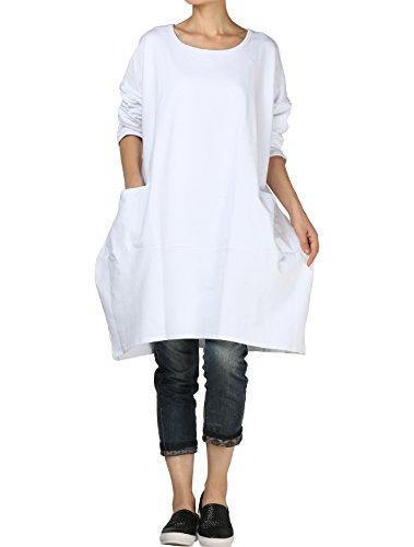 Vogstyle Damen 2018 Neue Langärmelige Tunika Tops mit Zwei Seite große Taschen Kleid