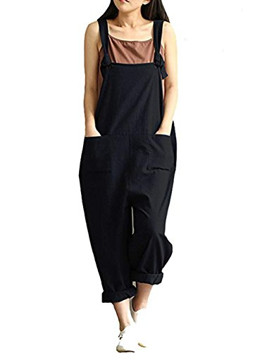 Aedvoouer Womens Casual Loose Cotton Bib Baggy Overalls Jumpsuit Pants Plus Size Romper (S, a-Black)