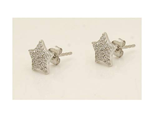 0.25Ct Round Cut VVS1/D Diamond 14K White Gold Over Star Stud Earrings