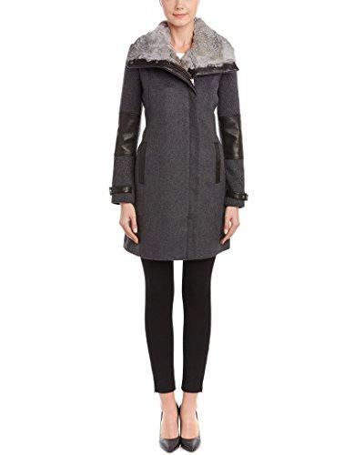 Andrew Marc Mara Wool Blend Coat With Leather Trim & Genuine Rabbit Fur Collar Grey - Marc Mara