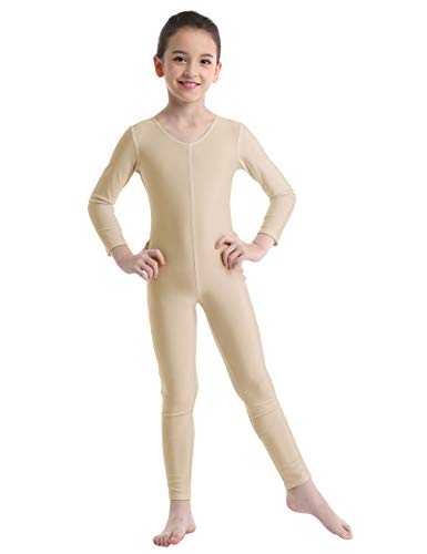 dPois Kids Big Girls' Long Sleeves Full Length Gymnastics Dance Leotard Bodysuit Jumpsuit Unitard Nude 5-6 (Gymnastics Jumpsuit)
