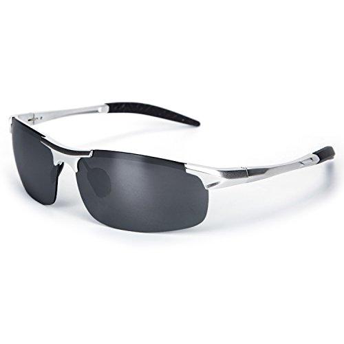YJMILL New Polarized Retro Pilots Riding Fishing Golf Travel Driving Wayfarer Sports Sunglasses For Men 2018 Silver (Silver, - Armazones De Lentes