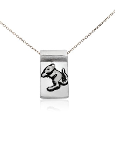 Year of the Rat Chinese Astrology Silver Pewter Charm Necklace Pendant Jewelry ()