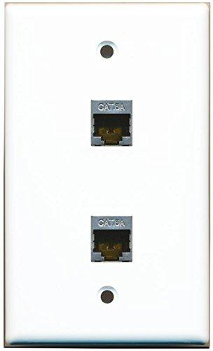 - RiteAV CAT 6A Shielded 2 Port Wall Plate Single Gang - White