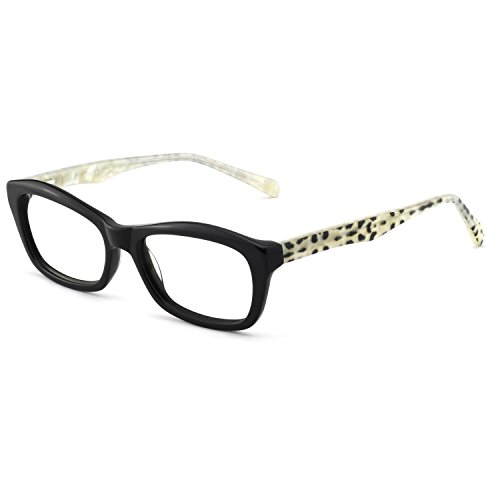 - OCCI CHIARI Fashion Rectangular Eyewear Frame Eyeglasses Optical Frame Clear Lens Glasses for Women (Black white Leopard)