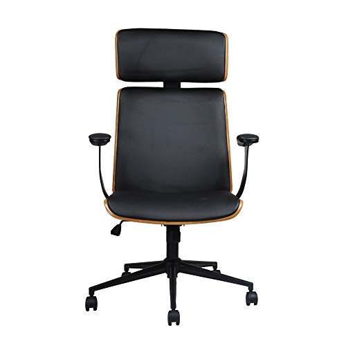 GIA Bentwood Executive Swivel Office Chair with Arm and High Back, Black/Walnut, 2-Pack ()