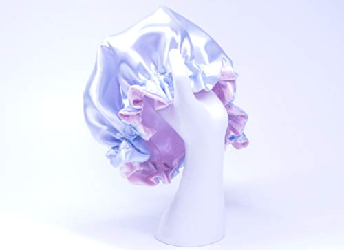 (TODDLER Pink/Lt Blue Reversible Satin Hair Bonnet By RJstyles.co for Baby girls AGE 9 months to 3 years of age by RJStyles.co)