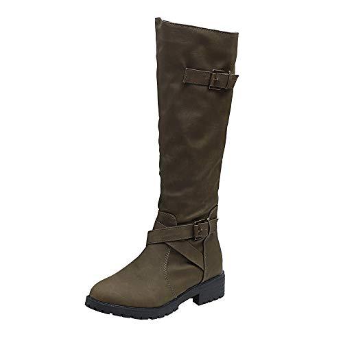 77469871d Limsea 2018 Womens Ladies Military Combat Army Boots Knee High Calf Biker  Zip Punk 9.5 Green