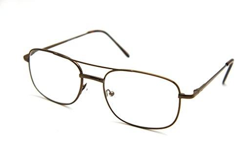 ColorViper Vintage Classic Aviator Metal Reading Sunreader Glasses (Navigator brown / clear reader, - Full Size Glasses Reading