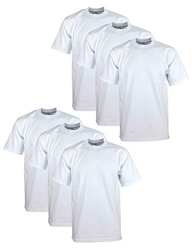 Pro Club Men's 6-Pack Heavyweight Cotton Short Sleeve Crew Neck T-Shirt, White, Small