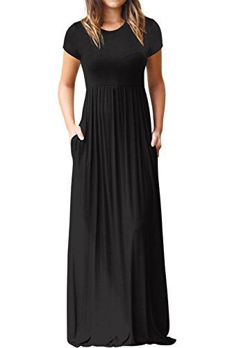 Hervive Women's Short Sleeves Long Maxi Dress with Pockets Empire Waist Swing Causal Dress Black Medium (Black Empire In Dress Sleeve Short)