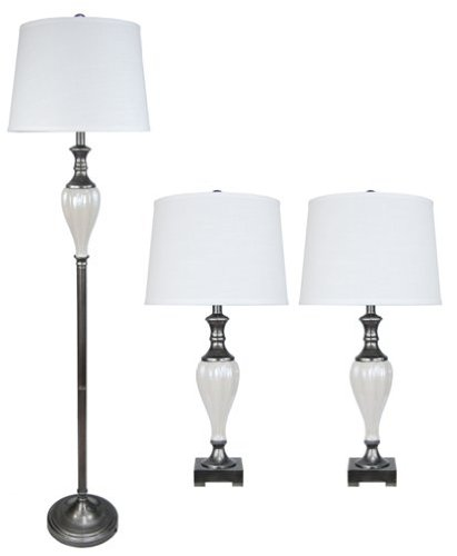 Fangio Lighting 8739 Metal and Ceramic Lamp, Black with White Ceramic, 3-Piece by Fangio Lighting