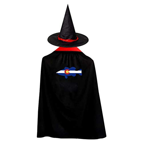 Kid's Bass Fish Colorado Flag Halloween Wizard Witch Cloak Cape Robe And Hat for $<!--$13.50-->