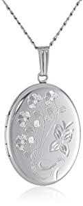 "Sterling Silver Engraved Flowers Oval Locket, 20"""