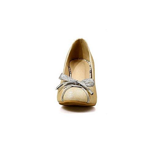 Balamasa Dames Pointes Talons Aiguilles Arcs Bas-coupe Urethane Pompes-chaussures Or