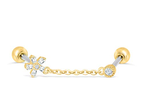 ONDAISY 14k Gold Plated Simulated Diamond Round Cz Snowflake Flower Love Heart Ear Barbell Ball Stud Earring Chain Piercing