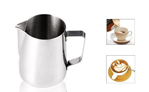 Milk Pitcher, Eridge Stainless Steel Milk Cup Frothing Pitchers Durable Milk Frother Jug for Espresso Machine