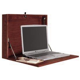 Buddy Products Wall Desk, 4 x 17 x 21 Inches, Mahogany (9296-16) - Buddy Wood 4 Shelf