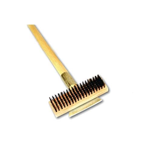 (Thunder Group Heavy Duty Wire Brush with Scraper and Long Wood Handle, 27-Inch )