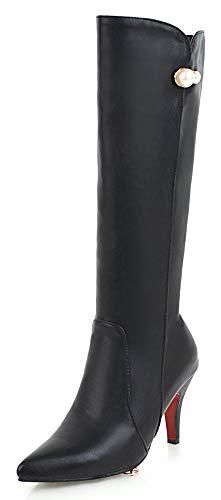 SFNLD Women's Trendy Pointed Toe High Stiletto Heel Side Zipper Knee High Winter Fall Boots with Platform Black 5.5 M ()