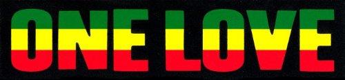 One Love with Rasta - Reggae Colors - Small Bumper Sticker / Decal (7