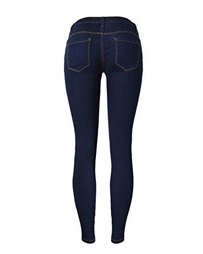 Skinny Alta Delle Strappati Pantaloni Donna Blu Eleganti Vita Ginocchio A Jeans Legging Scuro xg8qqwTIE