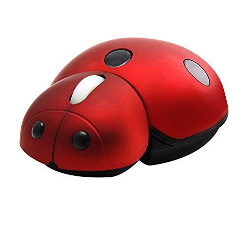 elec Space 2.4G Wireless Mouse Cute Animal Ladybug Shape 3000DPI Portable Mobile Optical Mouse with USB Receiver 3 Buttons Cordless Mouse for PC Mac Laptop Computer Notebook (Red)