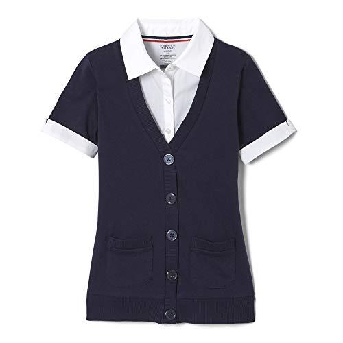 (French Toast Little Girls Short Sleeve 2-Fer Cardigan, Navy,  Small/6/6x)
