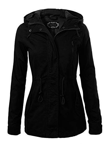 (Instar Mode Women's Military Anorak Safari Hoodie Jacket Black M)