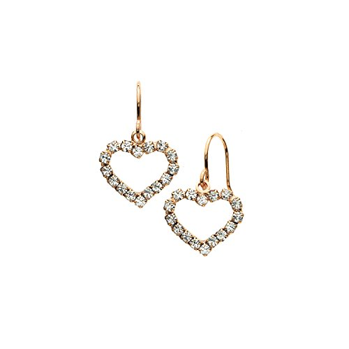 (14K Gold, Rose Gold, or Rhodium Plated Open Heart Drop Earrings with White Crystals)